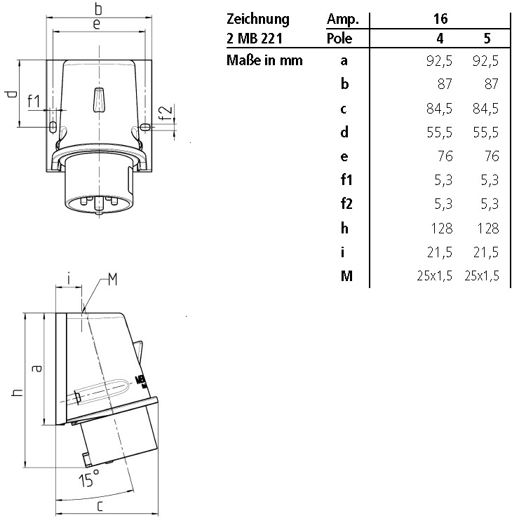 49382 mennekes wall mounted inlet 801 16amps 5p 400v ip44 dimensions