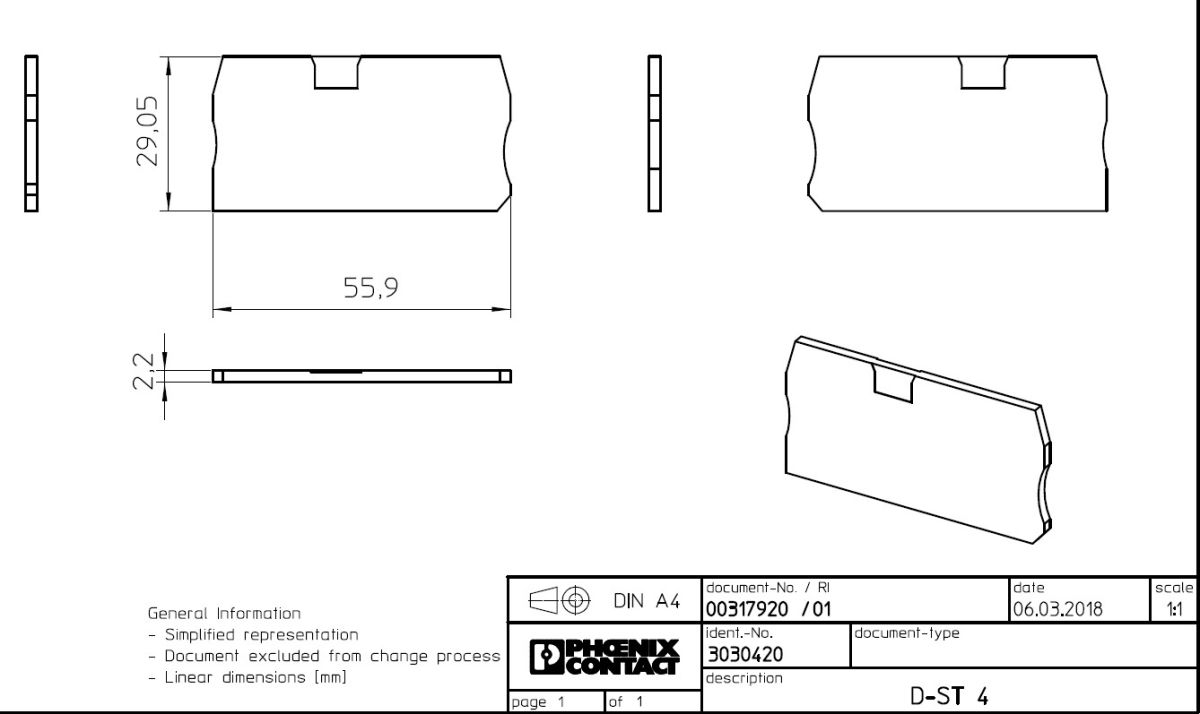 49562 end cover dst 4 3030420 gray dimensions