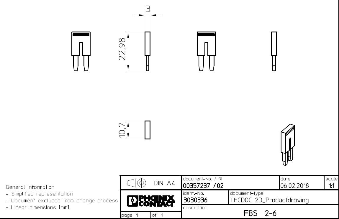 49572 plugin bridge fbs 26 3030336 2poles dimensions