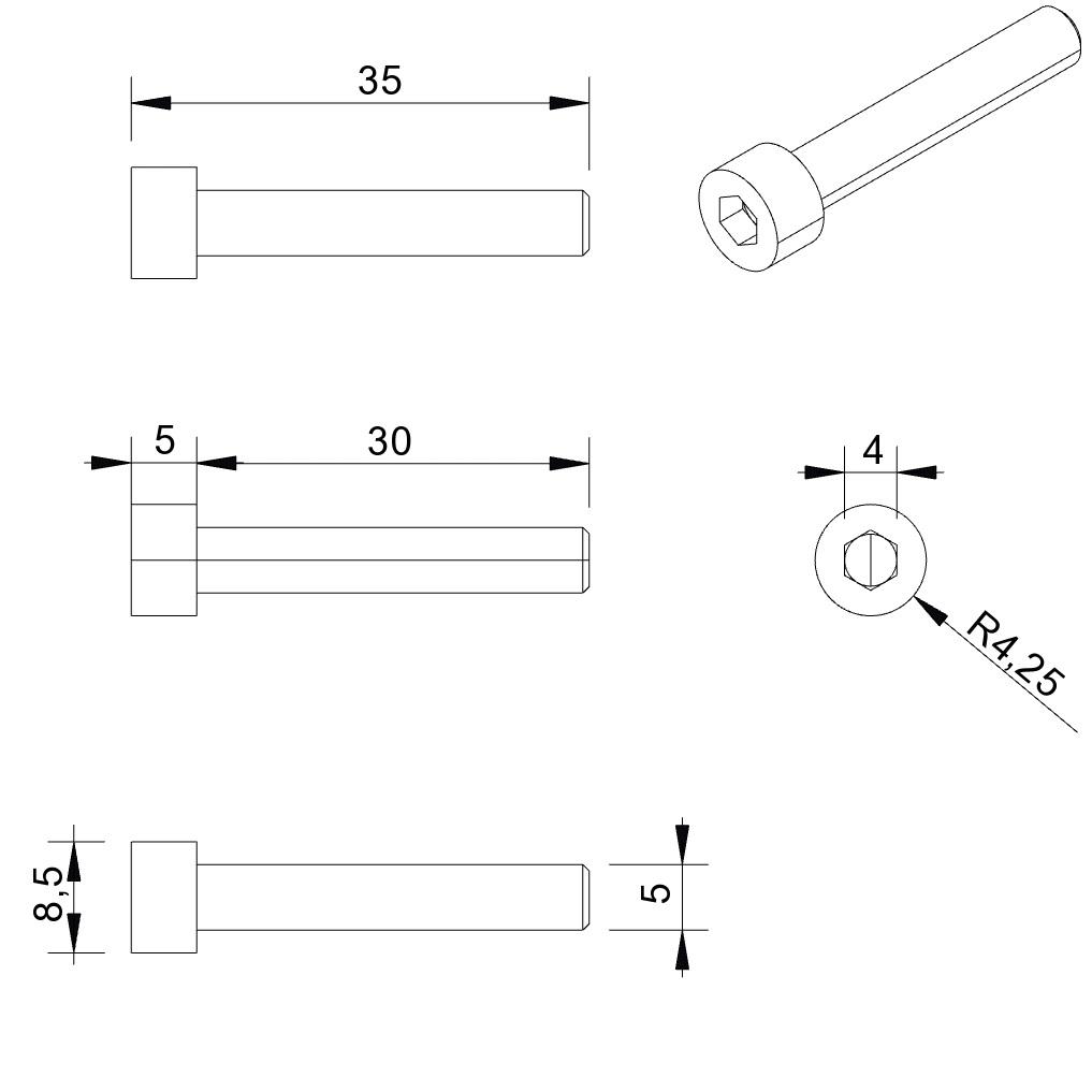 4962 din 912 metric bolts m5x30 all dimensions