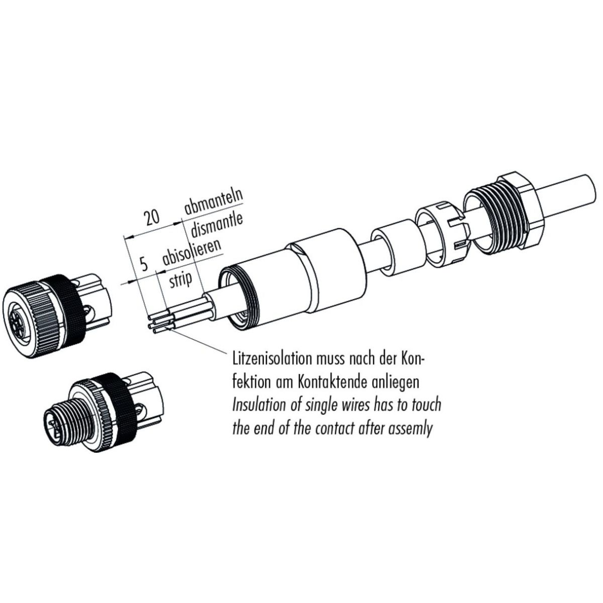 49655 m12s power 3pemale circular cable connector assembly instructions