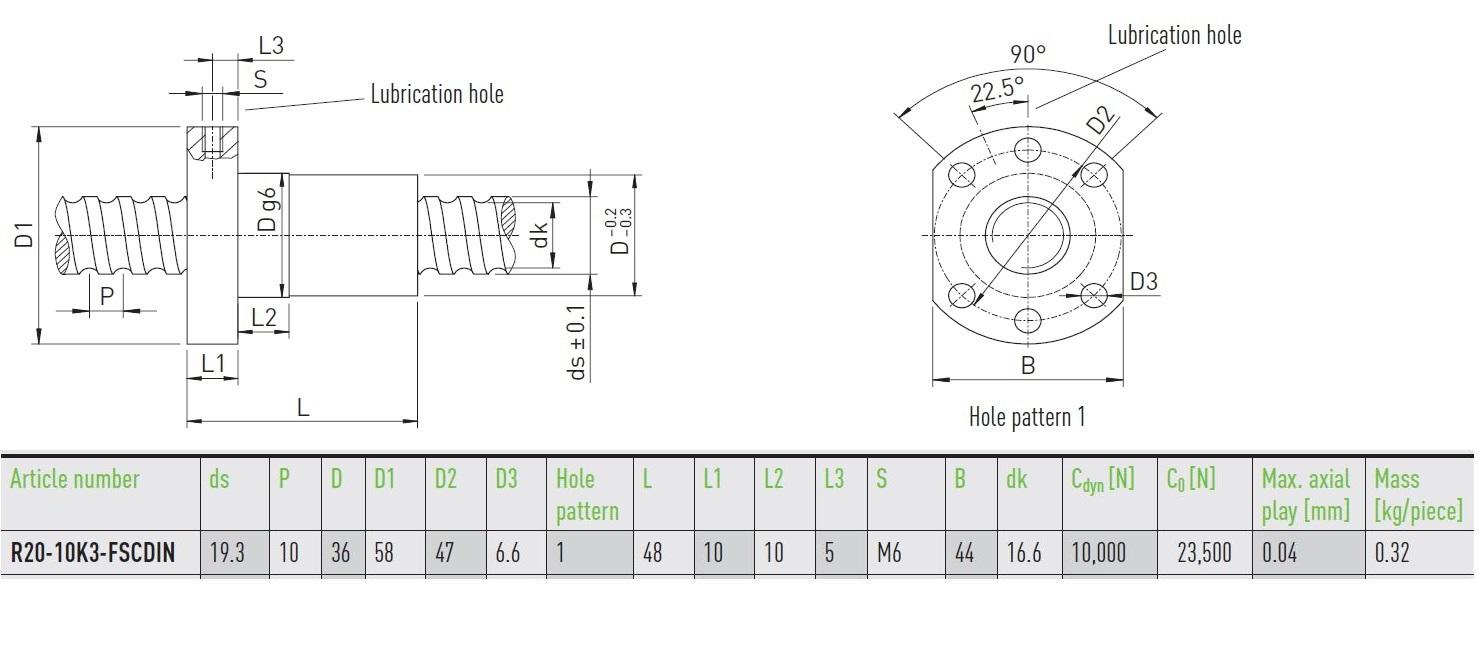 49722 hiwin ballnut r2010k3fscdin dimensions