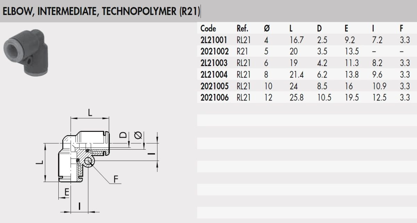 49873 2l21003 rl21 6 mm elbow intermediate connector plastic rl21 family