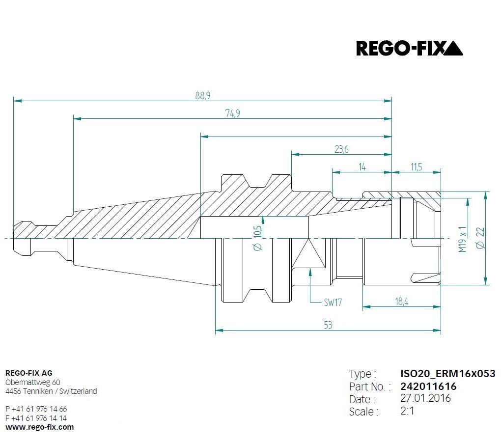 49932 iso20 er16 l53mm toolholderpullstud regofix 242011616