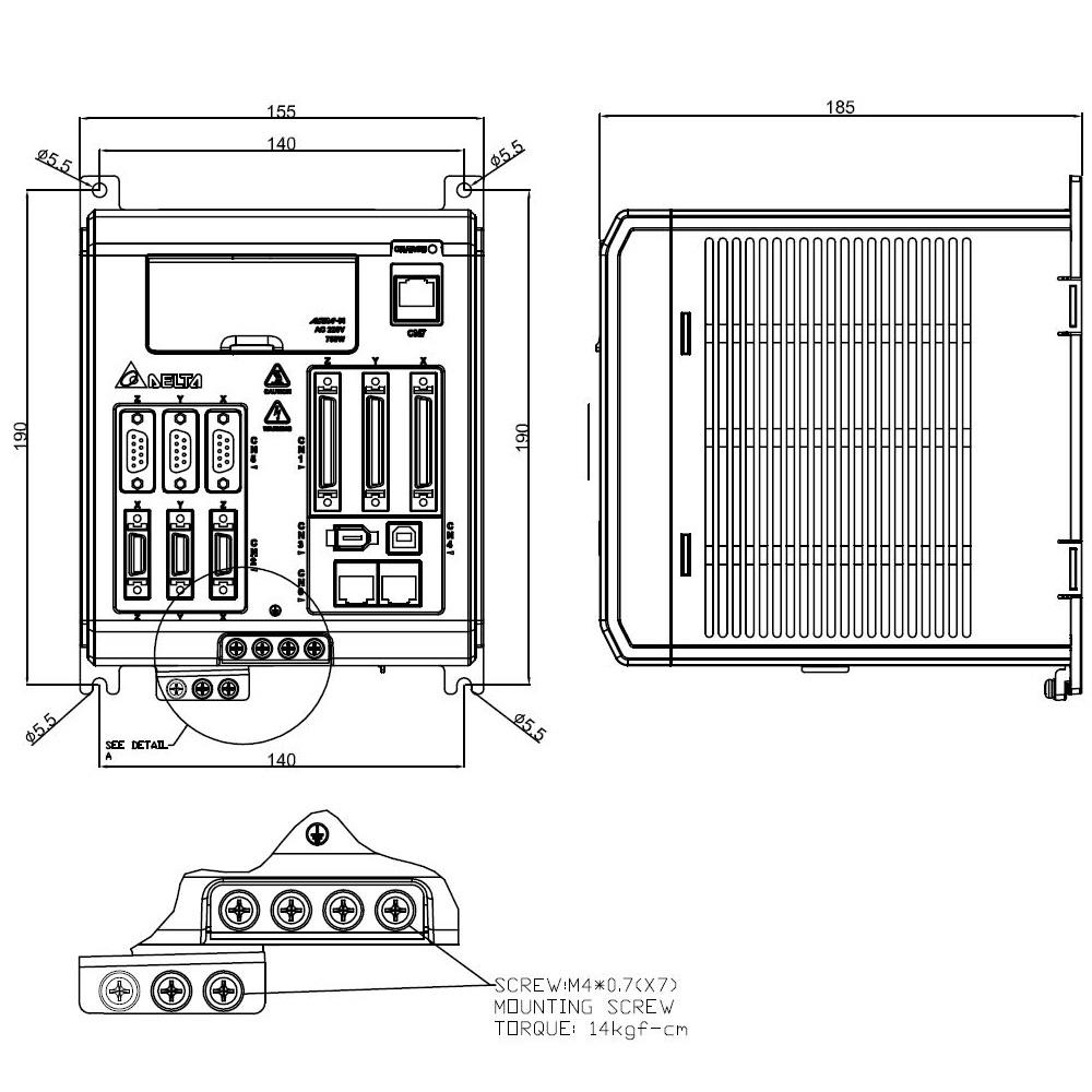 50172 asdam servo drive 3x750w asdm0721m dimensions