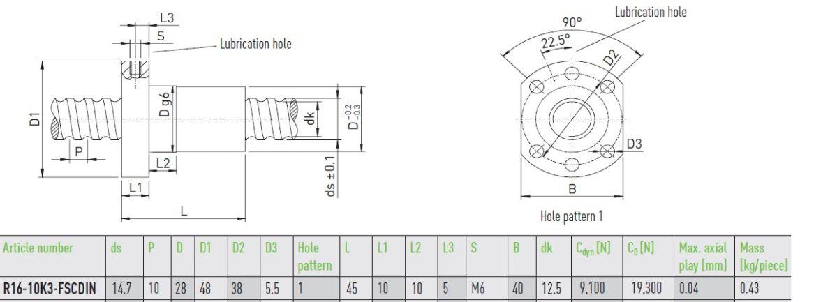 50212 hiwin ballnut r1610k3fscdin dimensions