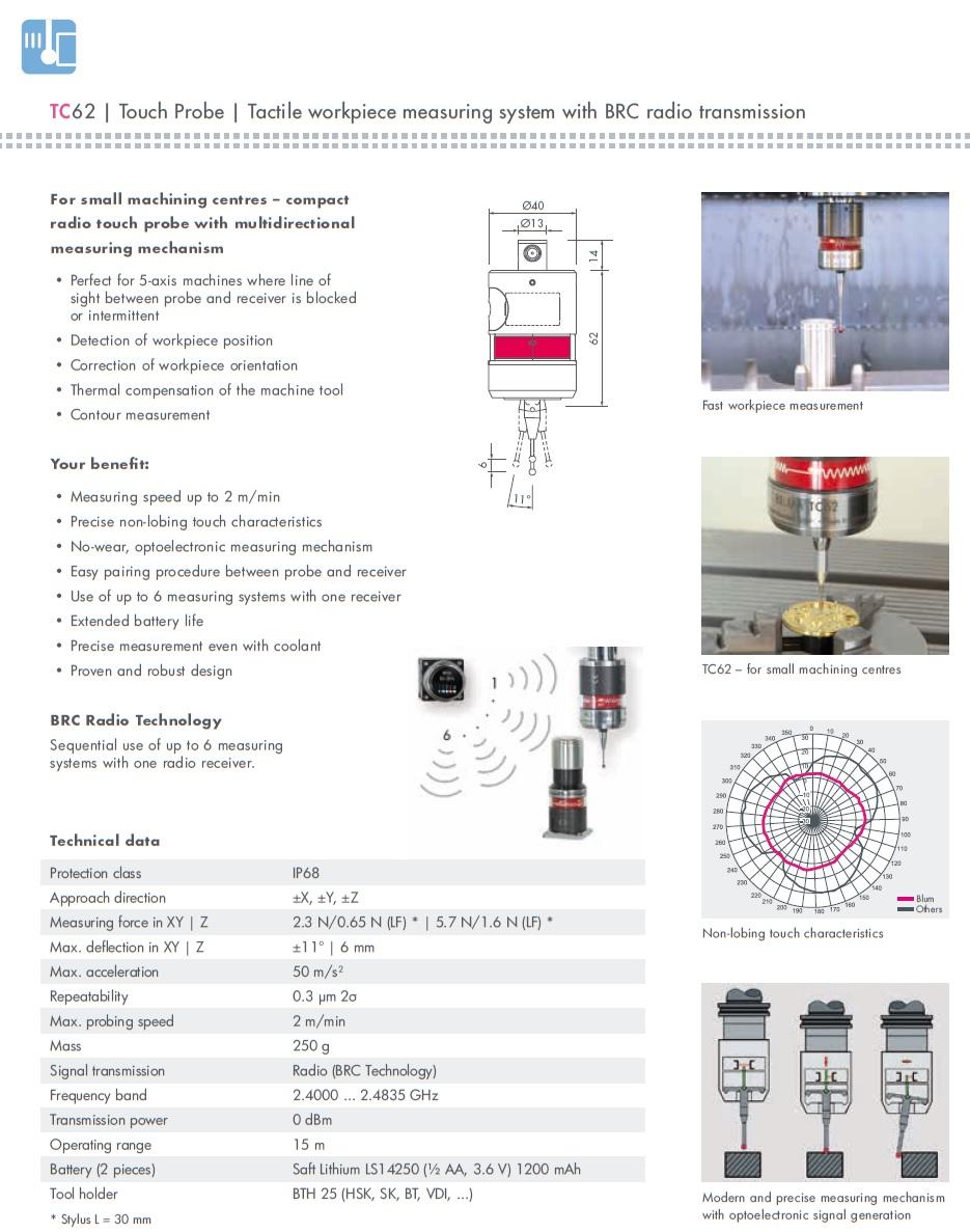 50386 tc62 workpiece touch probe specs
