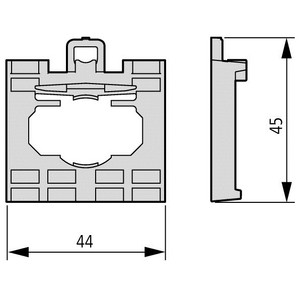 50442 m22a4 4way adapter for buttons and actuators 279437 dimensions