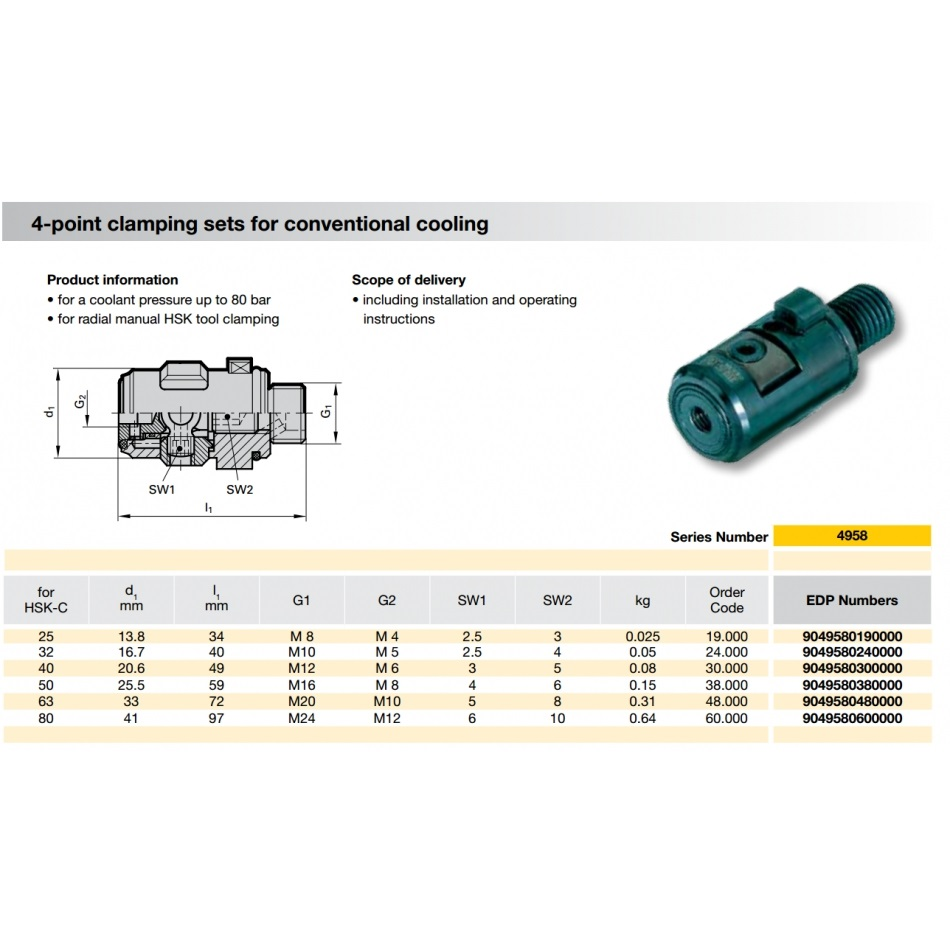 50454 hsk50c 4point clamping set for conventional cooling guhring 4958