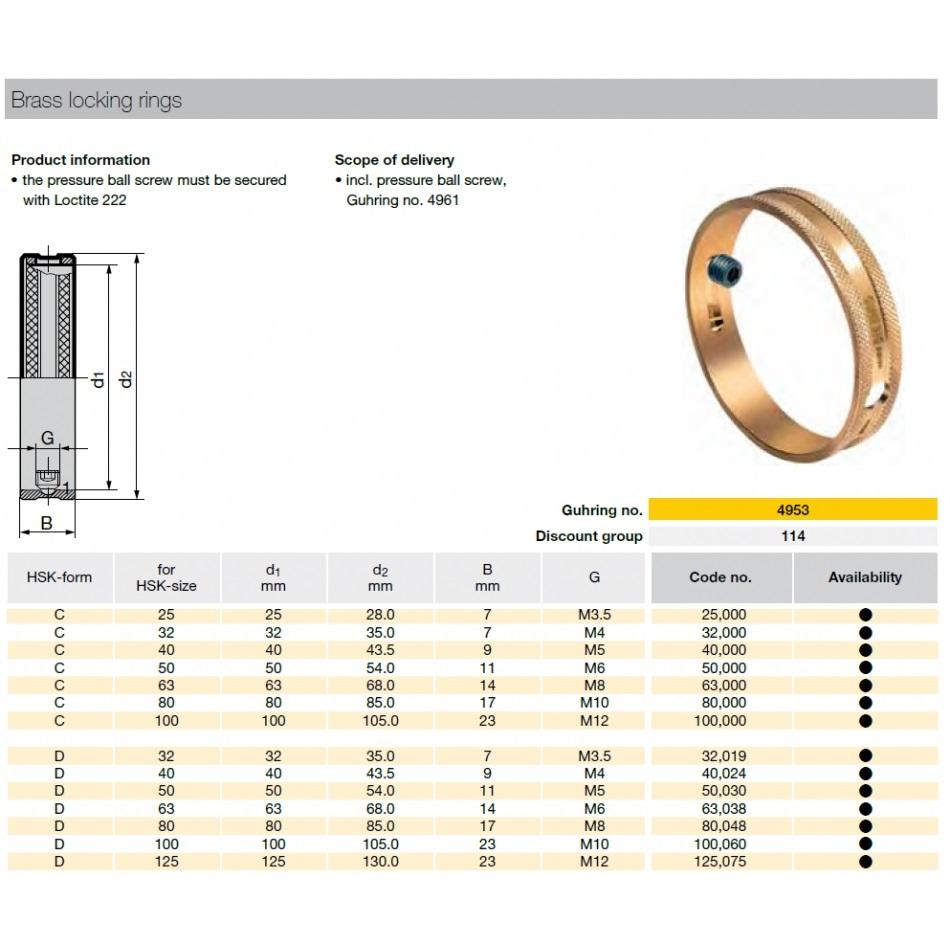 50463 hsk50c brass locking ring guhring 4953