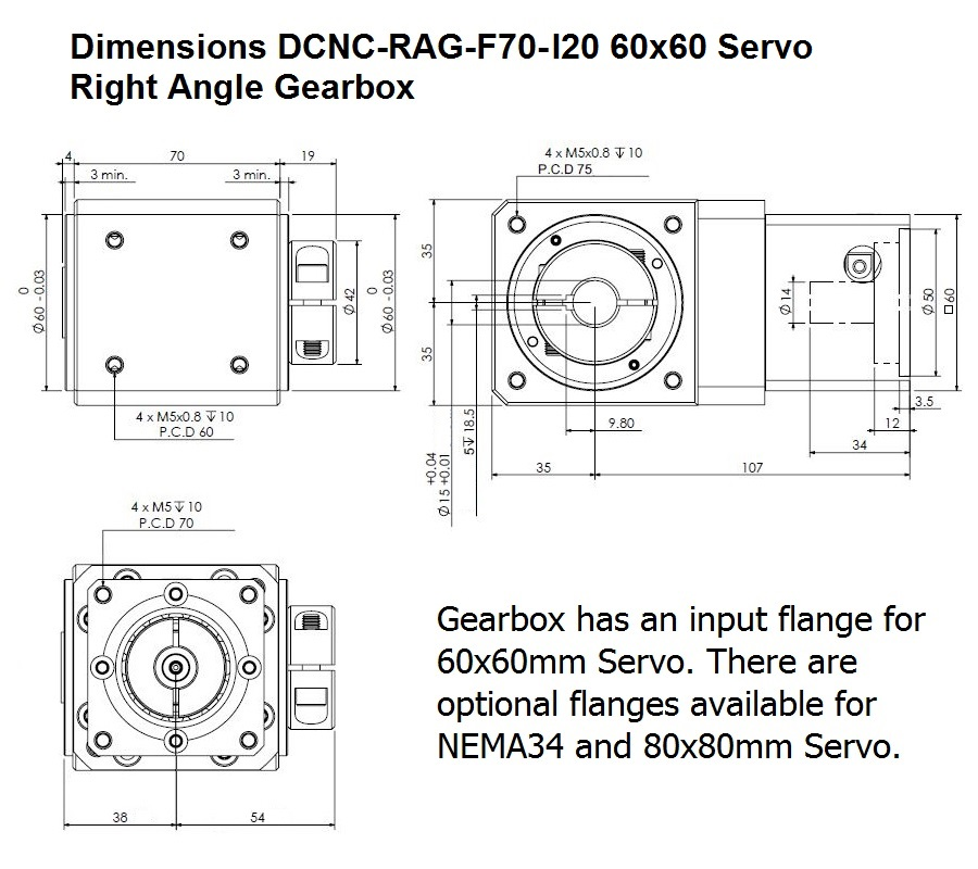 50853 dcncragf70 i20 right angle gearbox dimensions