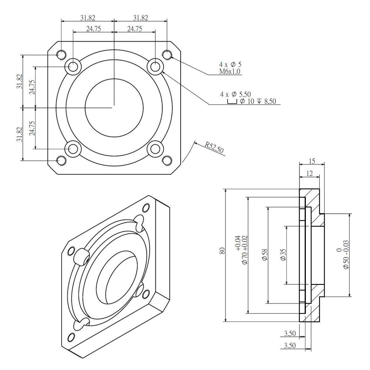 50862 input flange 80x80mm servo for dcncragf70
