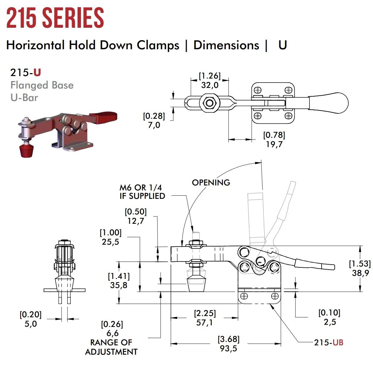 51092 destaco quick clamp 215u lever horizontal when clamped 2d dimensions