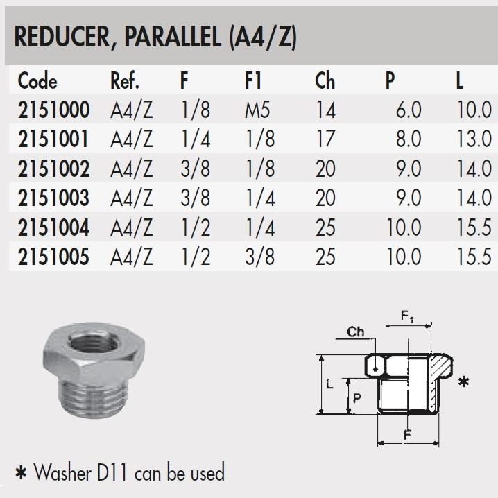 51192 2151003 38 14 thread adapter straight thread a4z