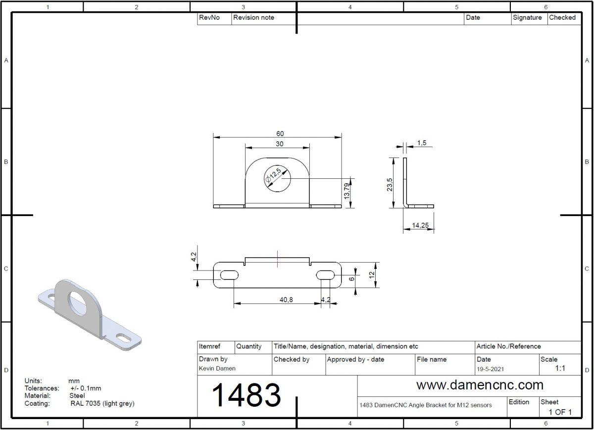 5123 m12 inductive sensor mount 2 detection plates 2d dimensions sensormount