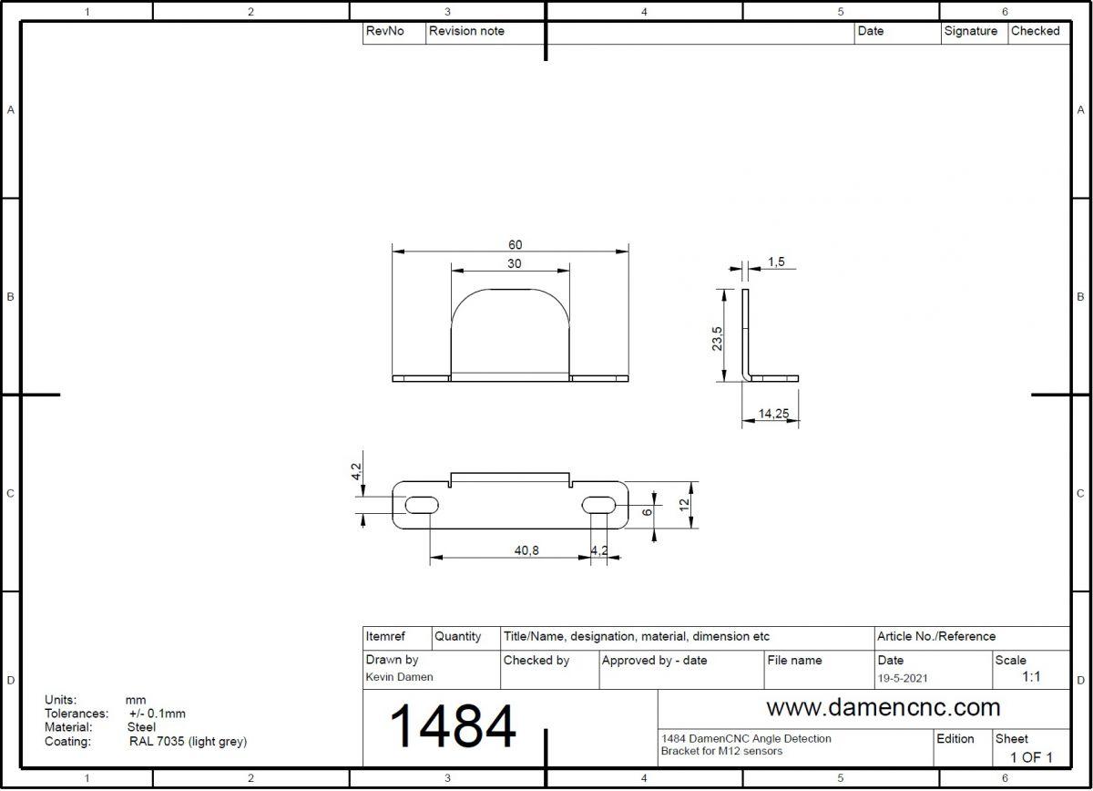 5124 m12 inductive sensor mount 2 detection plates 2d dimensions detection plates
