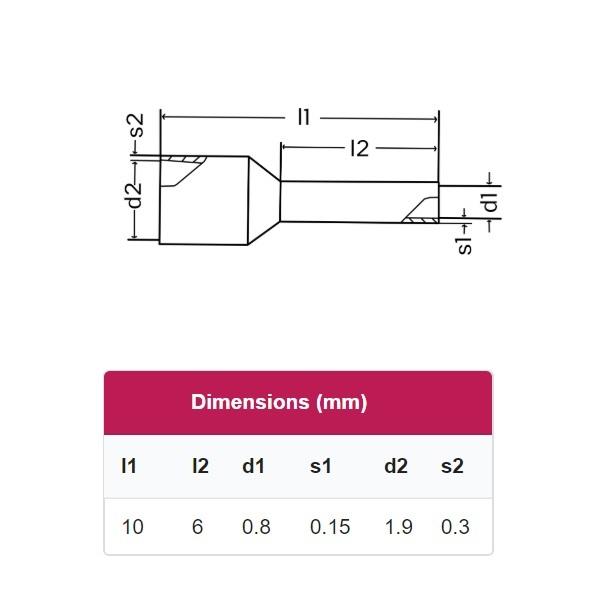 51773 ferrule aderhuls grey 014mm l6mm dimensions