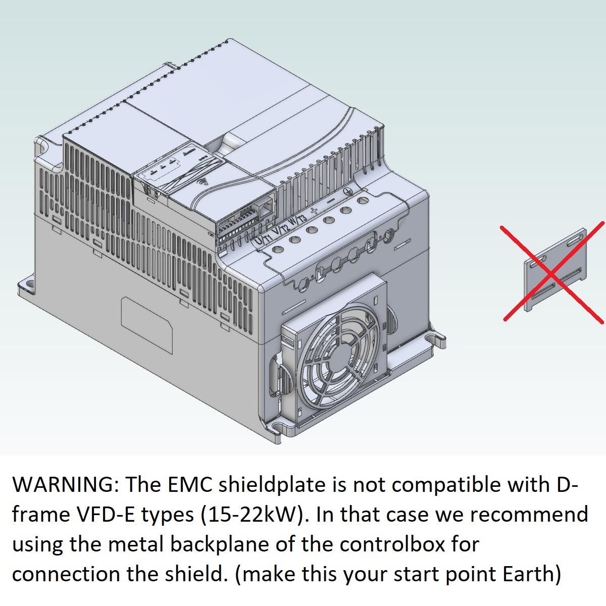 52095 emc shield plate for delta vfde frame abc frame d warning
