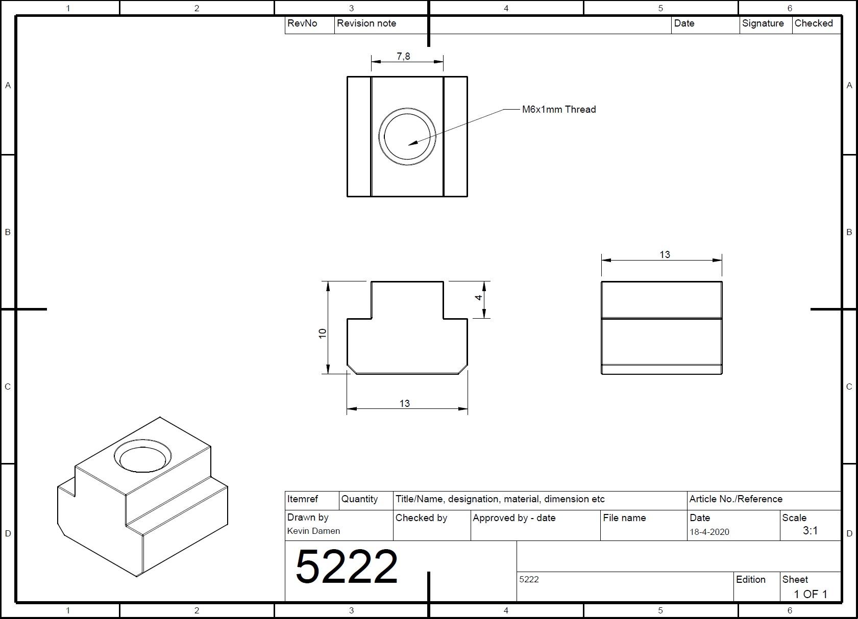 52222 m6 tnut l13mm din508 for tslot8mm wide 2d dimensions