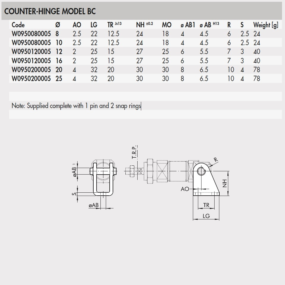 55583 w0950120005 counterhinge model bc for 1216 bore iso6432 product family