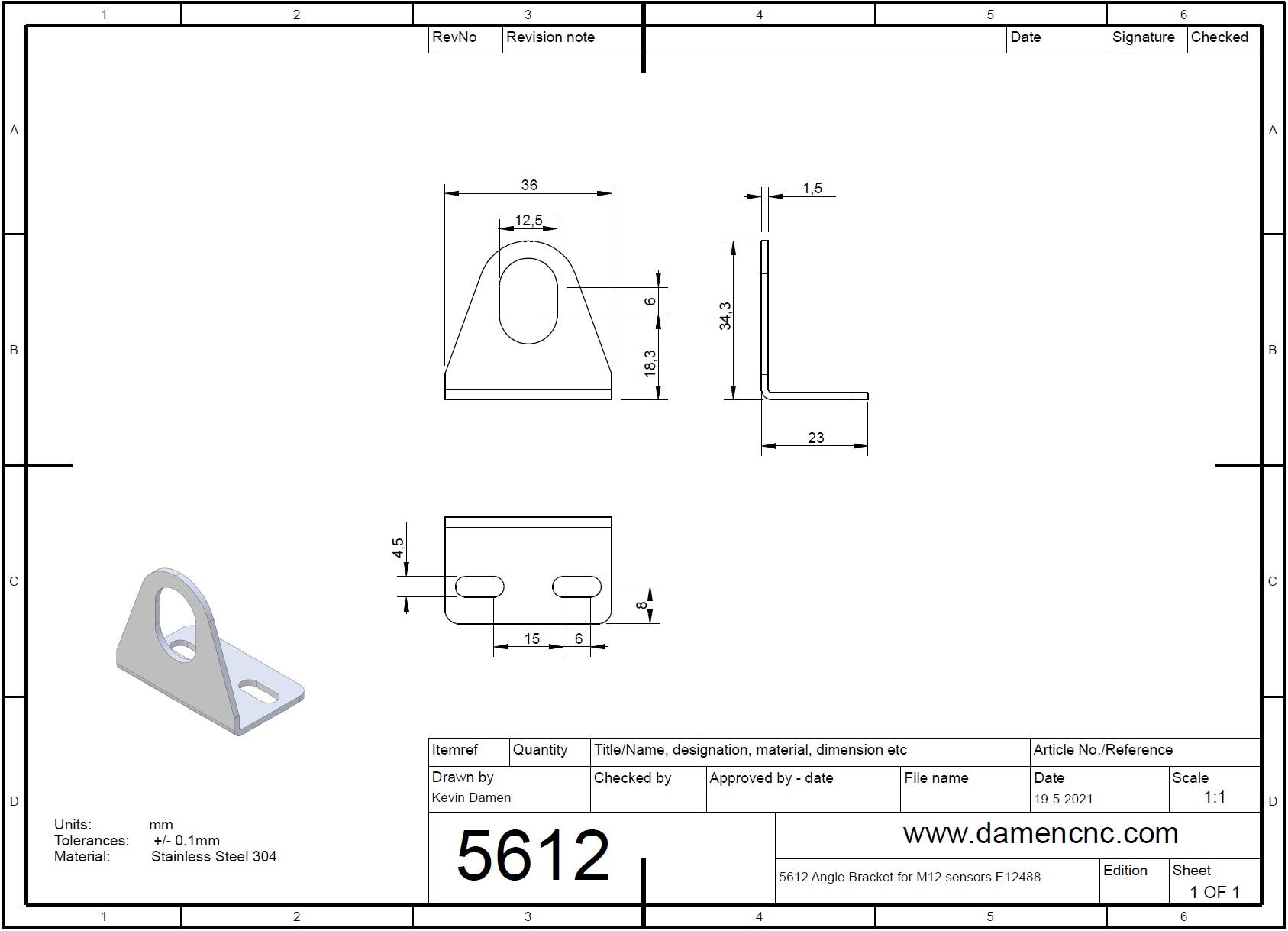 56123 angle bracket for m12 sensors e12488 2d dimensions damencnc