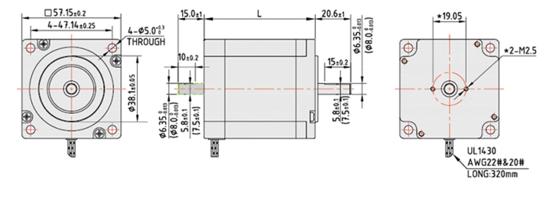 6732 stepper motor dcncnema2320nm double shaft 2d dimensions
