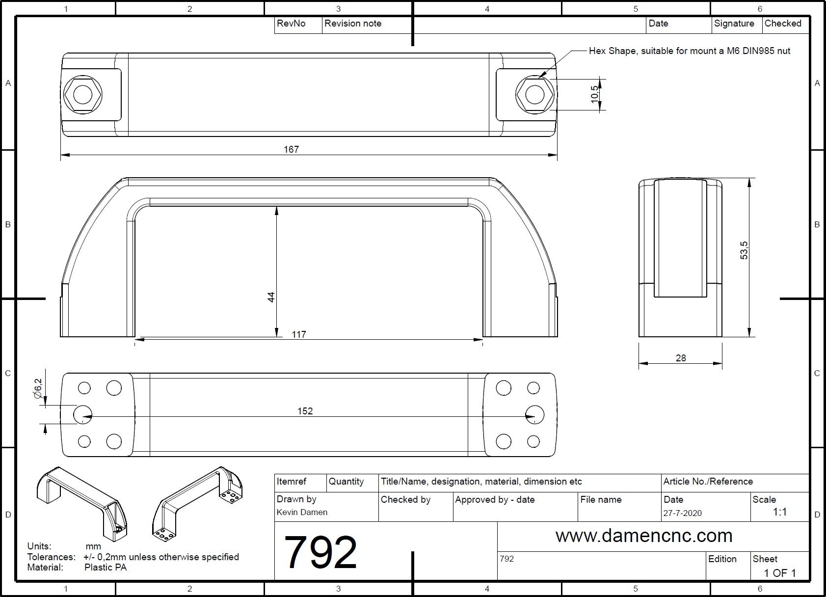 7923 handle pa plastic black a170 a152mm b28 h52mm 2d dimensions