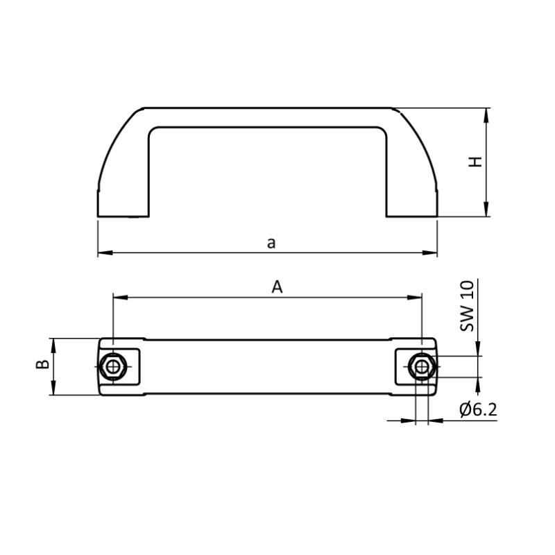 7924 handle pa plastic black a170 a152mm b28 h52mm dimensions