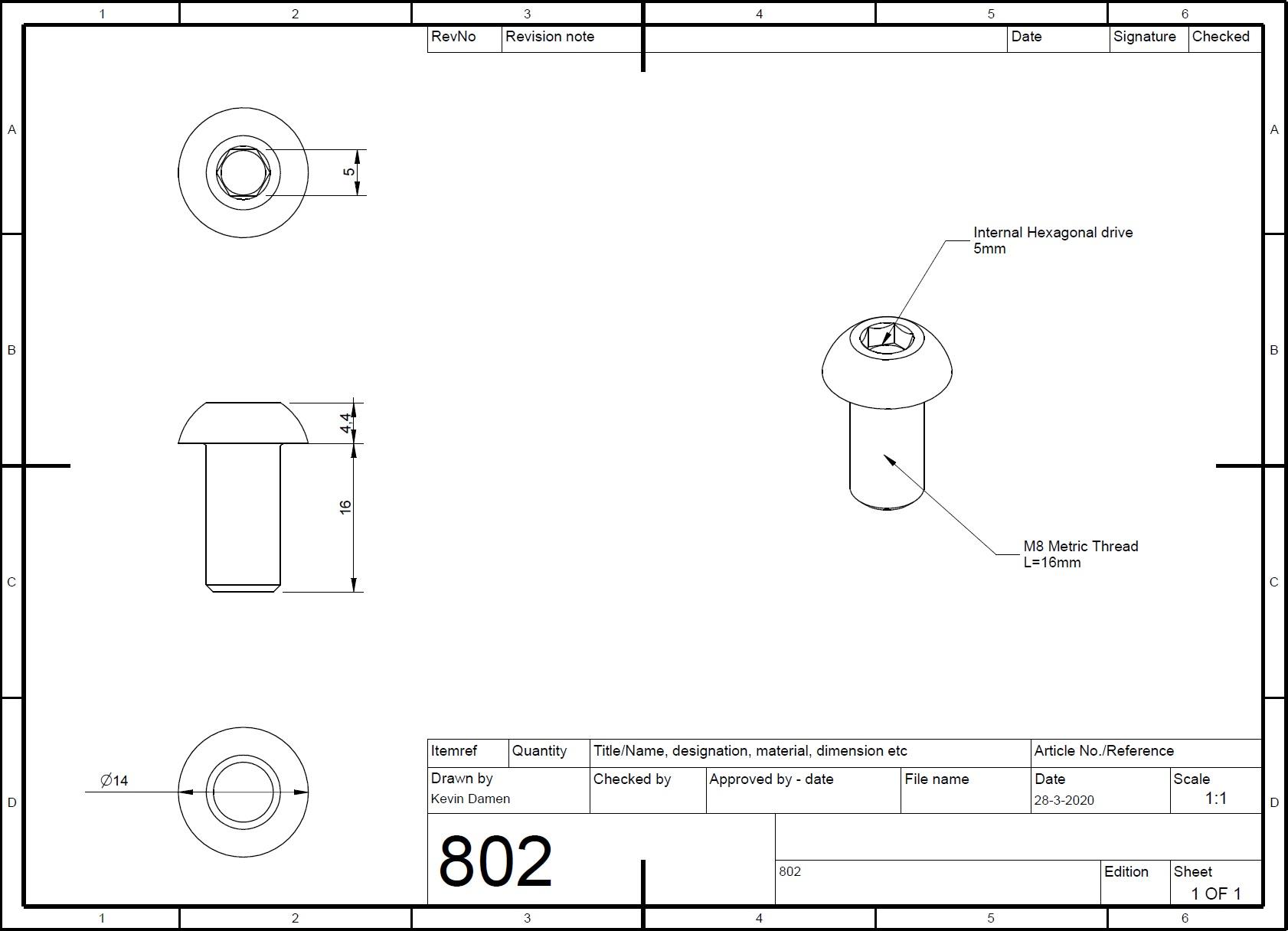 8022 m8x16 bolt iso73801 2d dimensions