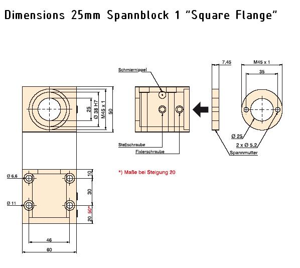 843 25mm spannblock 1 dimension