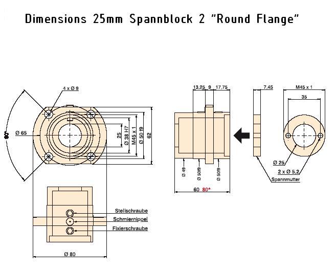 845 25mm spannblock 2 dimension