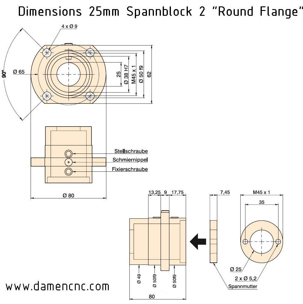 8462 20mm pitch spannblock 2 round flange dimensions