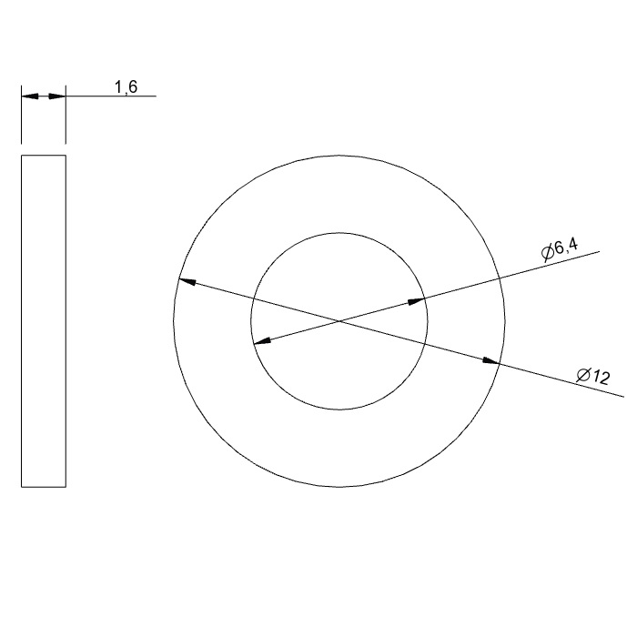 8682 m6 washer din125a 2d dimensions