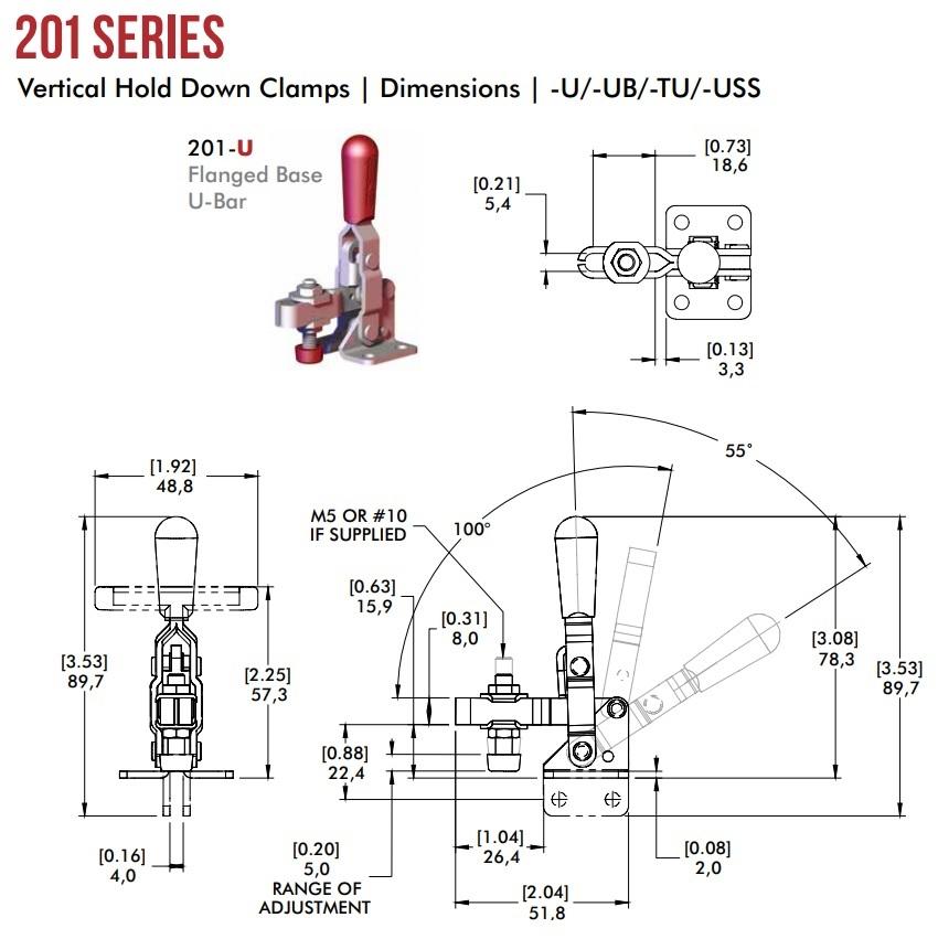 8802 destaco quick clamp 201u lever vertical when clamped 2d dimensions