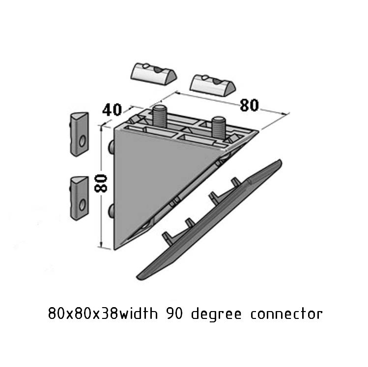 90 degree angle connector 80x80x38 width