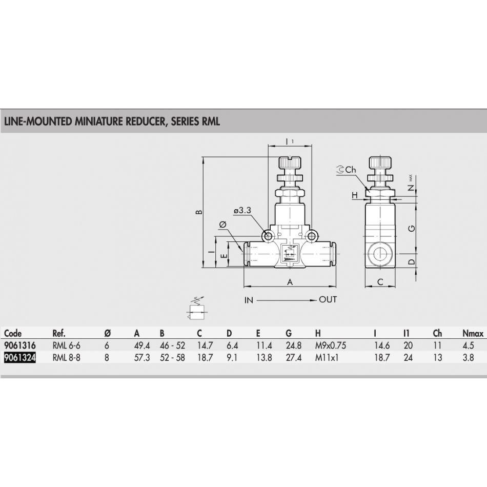 9061324 inline pressure regulator pushin in 88mm