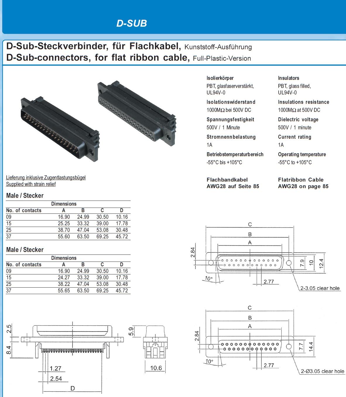 9473 26 poleribbon to 25 pole dsub connector female tech specs