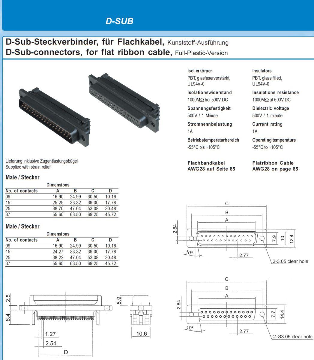9932 10 poleribbon to 9 pole dsub connector male dimensions etc