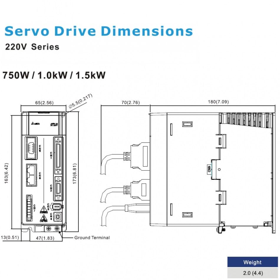 ac servo drive 1000w asda21021m