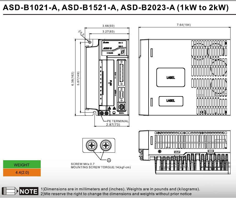 ac servo drive 1000w asdb21021b