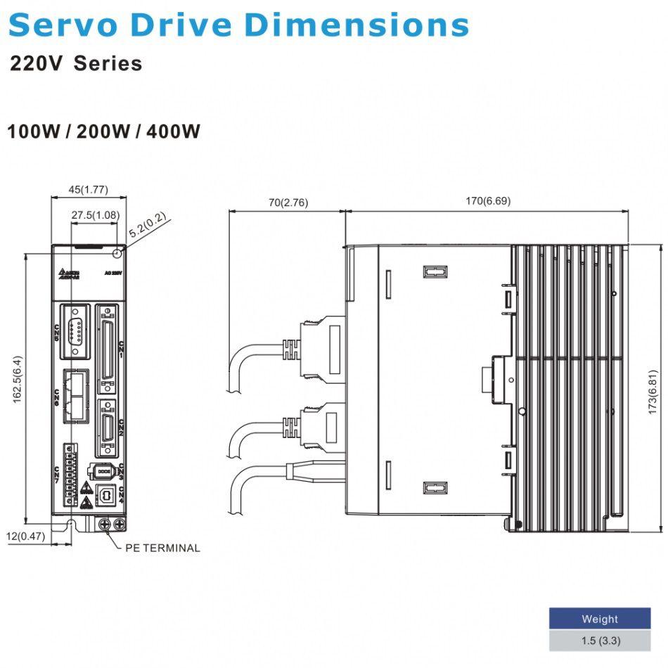 ac servo drive 100w asda20121m