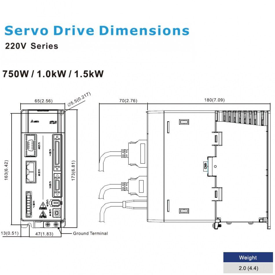 ac servo drive 750w asda20721m