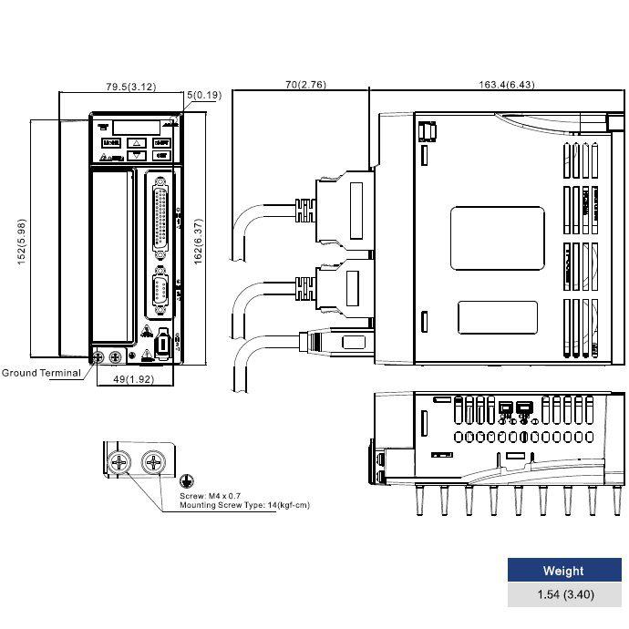 ac servo drive 750w asdb20721b
