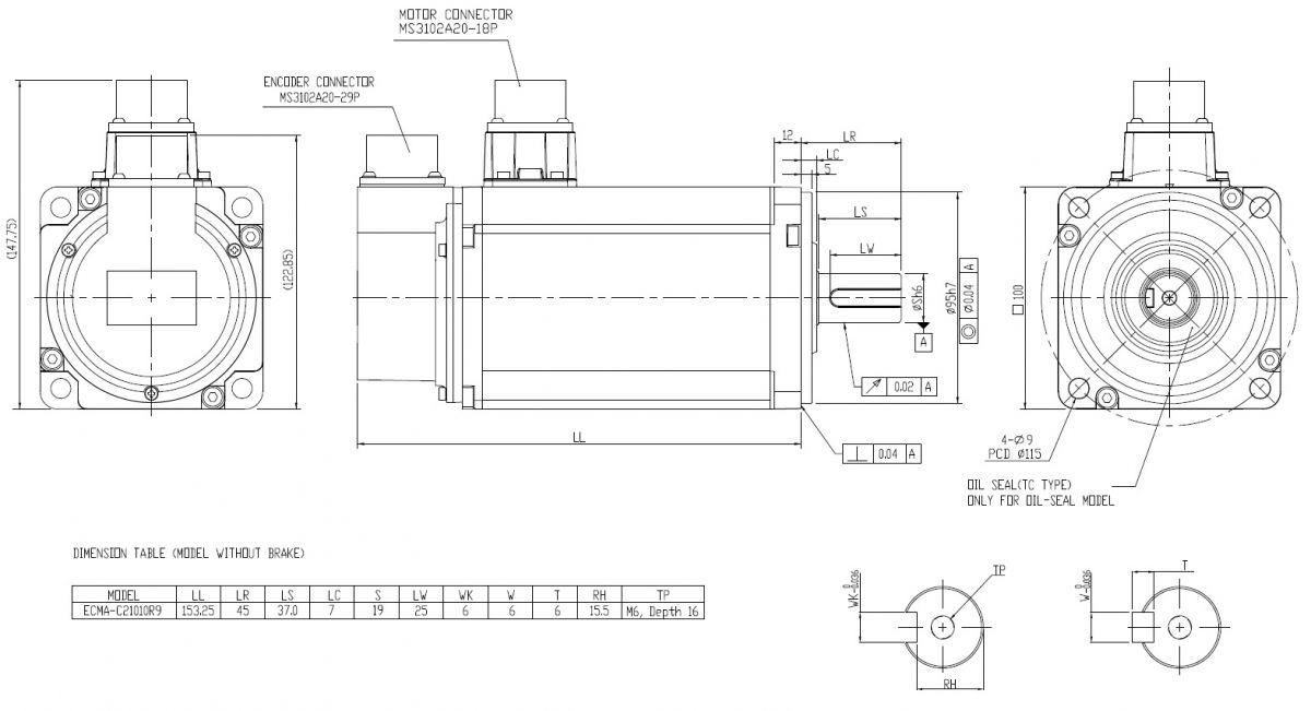 ac servo motor 1000w ecmac21010r9 shaft 19mm