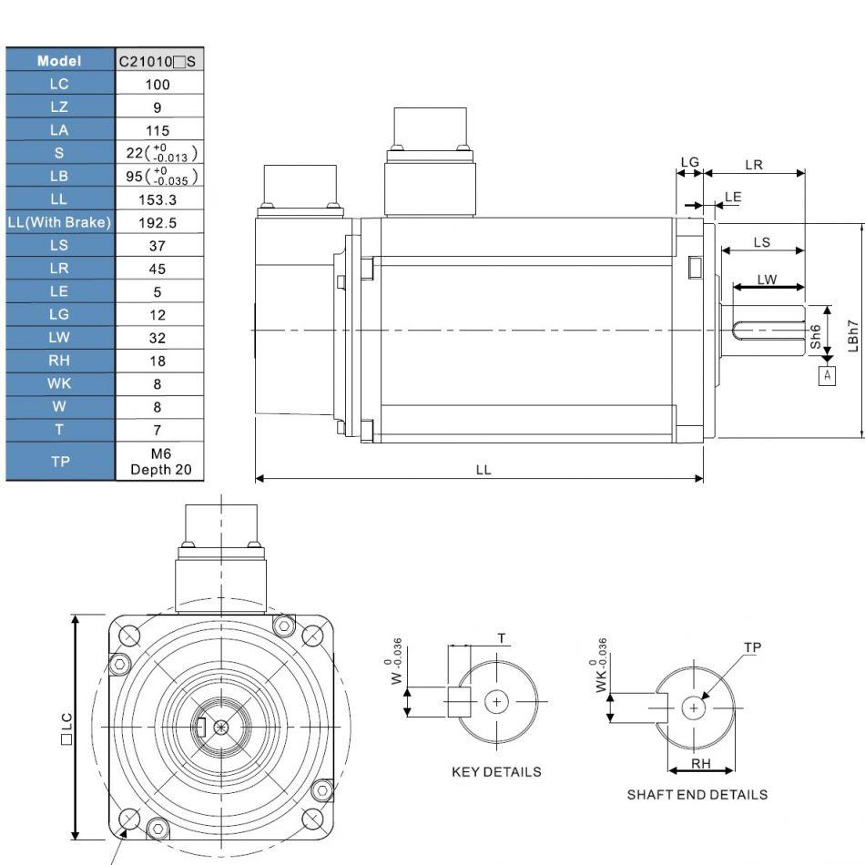 ac servo motor 1000w with brake ecmac21010ss