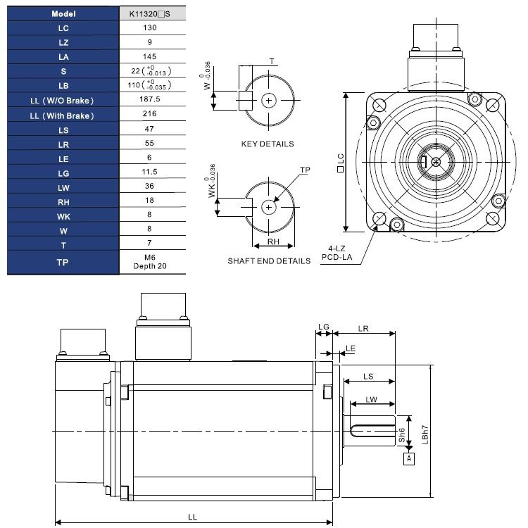 ac servo motor 2000w with brake ecmak11320fs