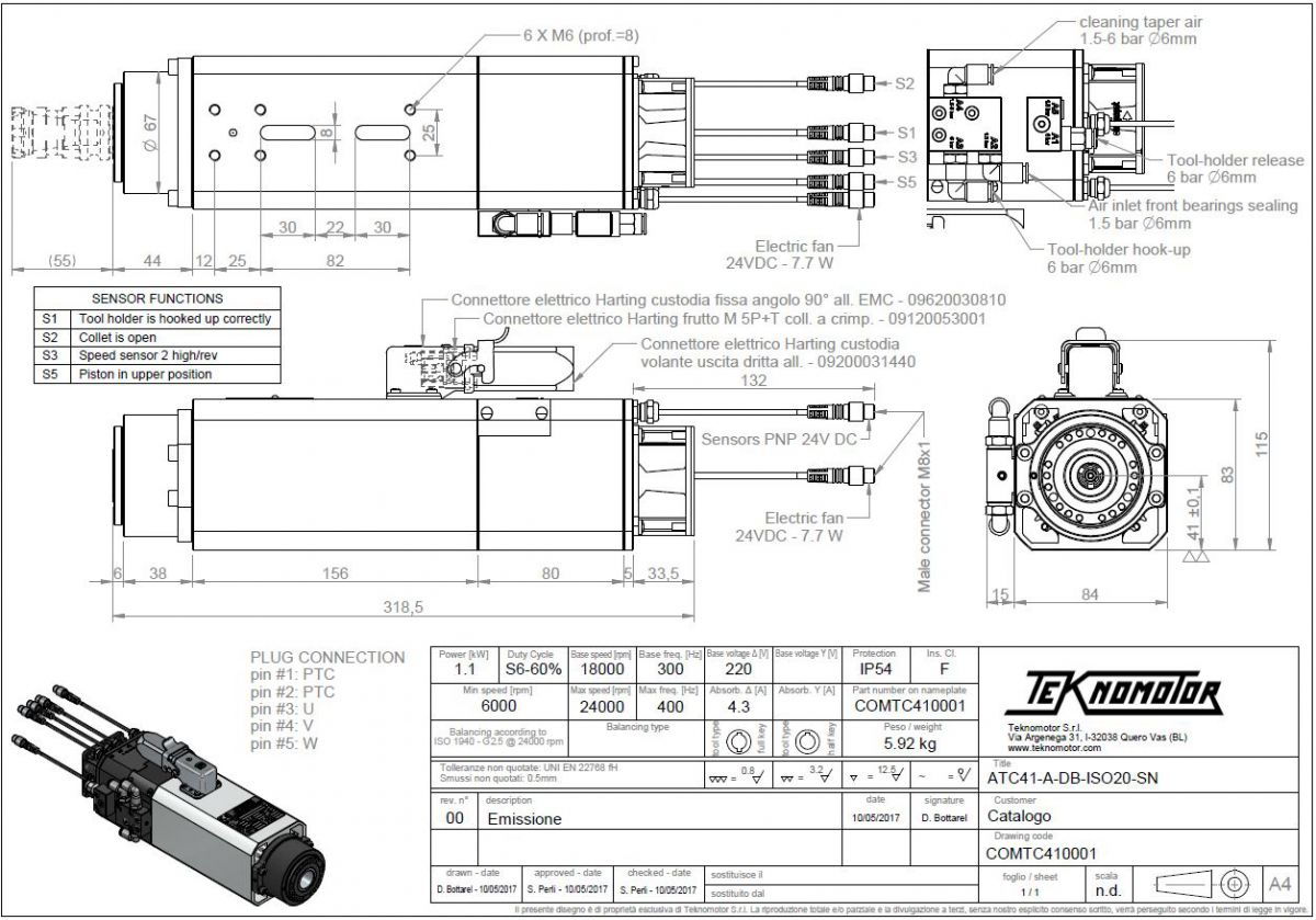 automatic toolchanger atc41adbiso20sn s611kw base18krpm max24krpm
