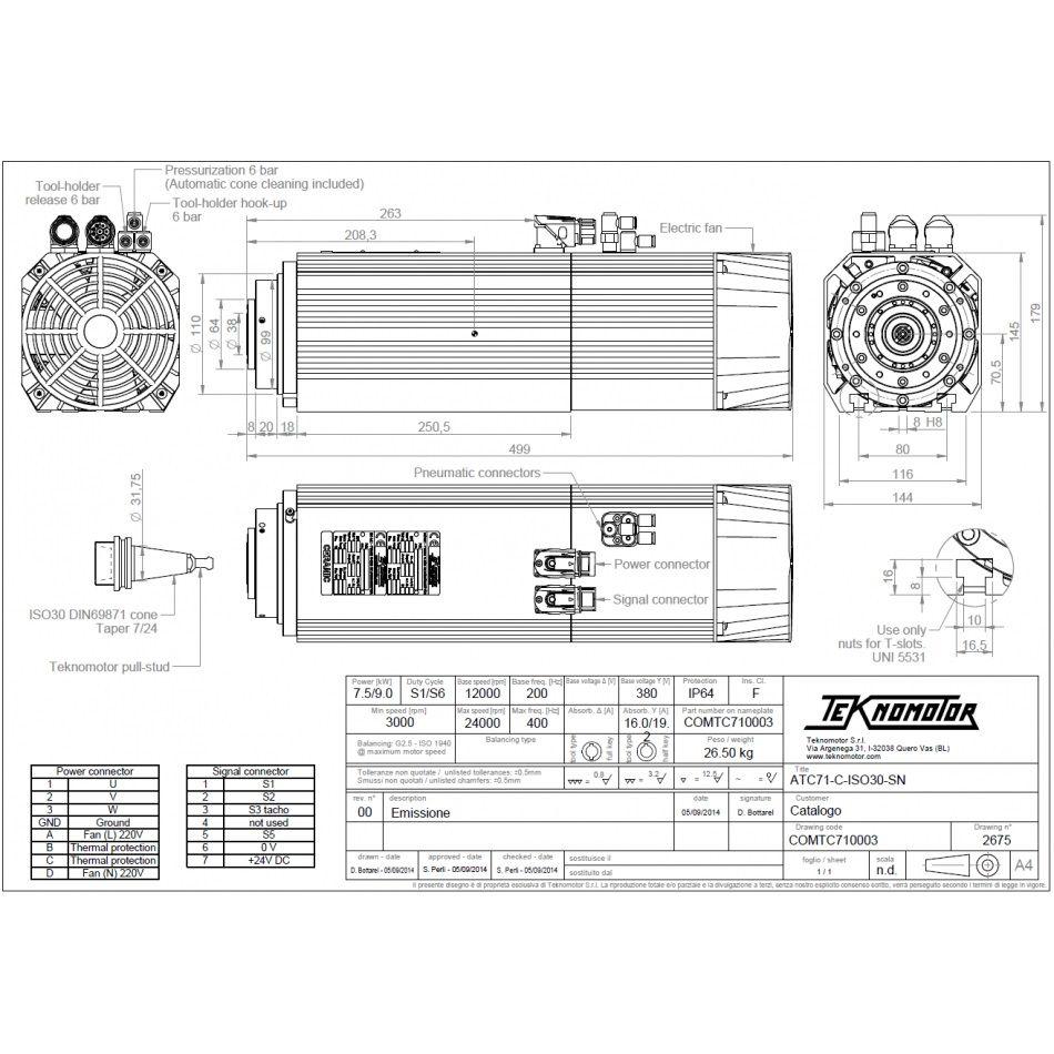 automatic toolchanger atc71ciso30sn s175kws690kw 12krpm max24krpm