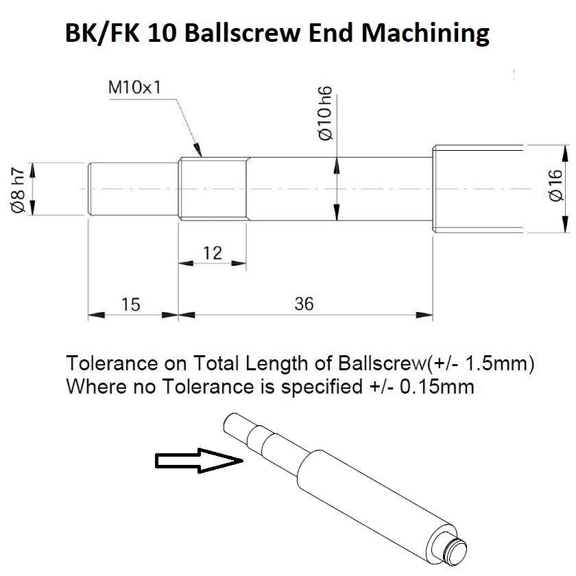 bkfk 10 ballscrew end machining fixed side