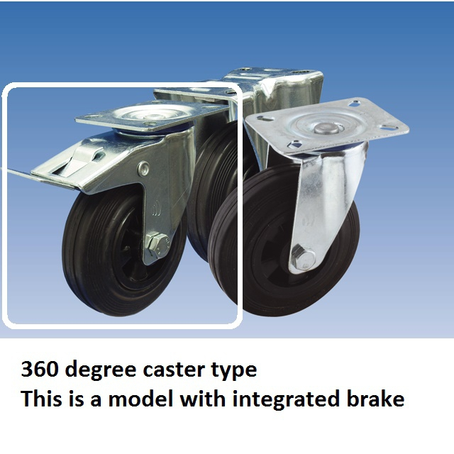 caster wheel 100x30mm with brake